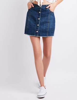 Charlotte Russe Button-Up Denim Skirt