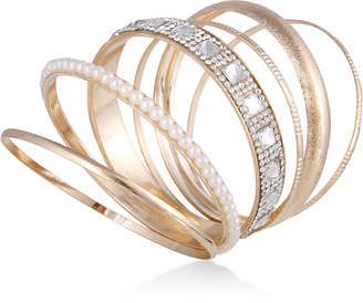 GUESS Gold-Tone 6-Pc. Set Crystal & Imitation Pearl Bangle Bracelets