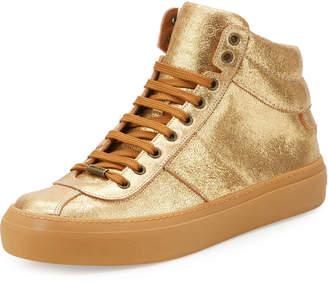 Jimmy Choo Belgravia Metallic Leather High-Top Sneaker, Gold