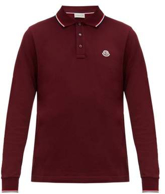 Moncler Long Sleeve Cotton Pique Polo Shirt - Mens - Burgundy