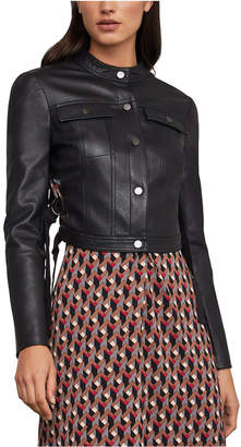 BCBGMAXAZRIA Pleated Cropped Faux-Leather Jacket