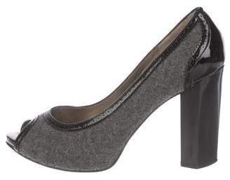 Diane von Furstenberg Patent Leather Peep-Toe Pump