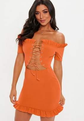 Missguided Orange Bardot Lace Up Frill Hem Dress