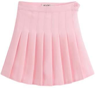 COMVIP Women High Waist Pleated Skirt Baseball Simple Short Dress M