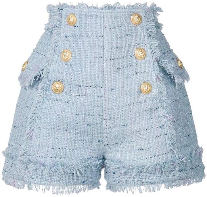 Tweed-Shorts mit Knopfverschluss