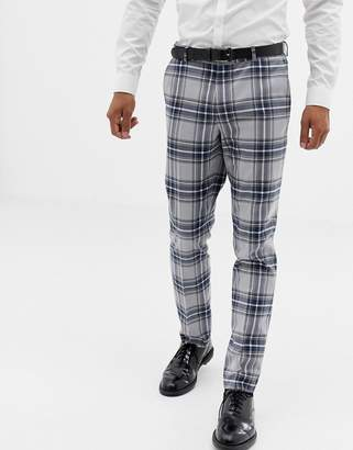 Design DESIGN skinny suit trousers in grey oversized check