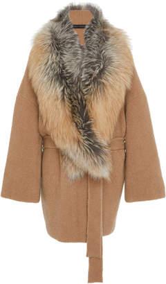 Sally LaPointe Detachable Fur-Trimmed Cashmere Silk Boucle Wrap Cardigan