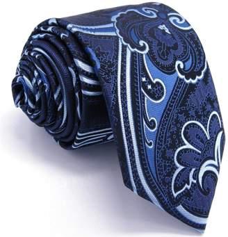 Christian Louboutin S&W SHLAX&WING Shlax&Wing Necktie Navy Blue Pattern Geometric Extra Long Skinny Slim Silk