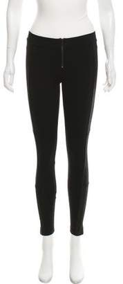 Alice + Olivia Leather-Accented Low-Rise Leggings w/ Tags
