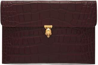 Alexander McQueen Skull crocodile-effect leather envelope clutch