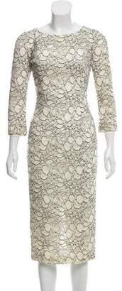 L'Wren Scott Lace Contrast Midi Dress