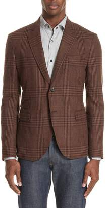 Eleventy Trim Fit Plaid Stretch Wool Blend Sport Coat
