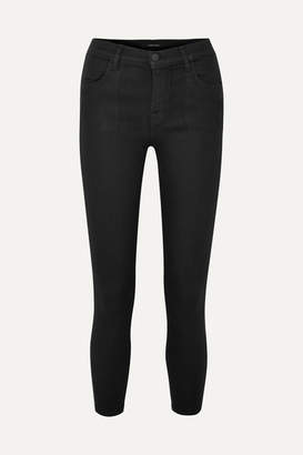 J Brand Alana Coated High-rise Skinny Jeans - Black
