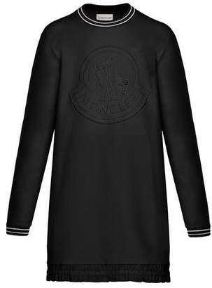 Moncler Striped-Trim Long-Sleeve Dress w/ Tonal Logo Embroidery, Size 8-14