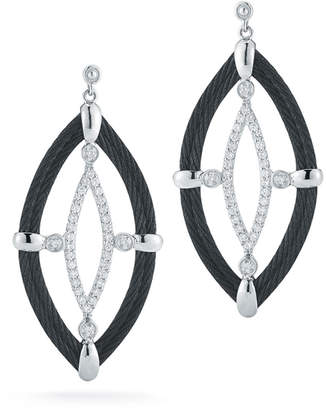 Alor 18k Diamond & Cable Marquise Drop Earrings, Black