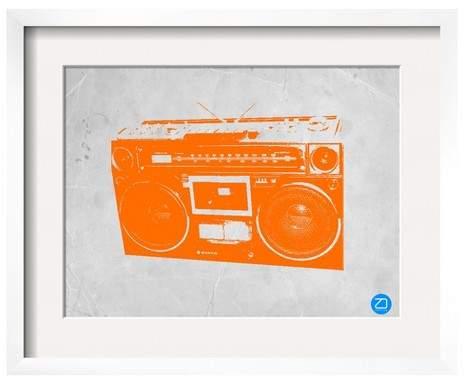 Orange Boom Box Framed Print