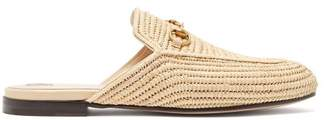 Gucci - Princeton Raffia Backless Loafers - Womens - Cream