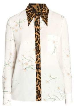 Miu Miu Daisy& Leopard Button-Down Shirt