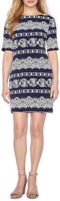 R & K Originals Elbow Sleeve Pattern Shift Dress-Petite