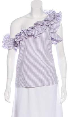 Petersyn Ruffle-Accented Striped Blouse