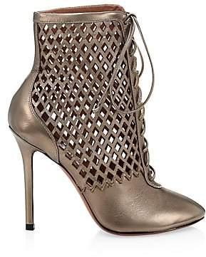 Alaia Women's Metallic Leather Lasercut Lace-Up Booties