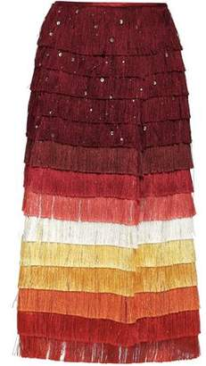 Marco De Vincenzo Embellished Fringed Color-Block Satin Midi Skirt