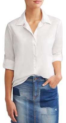 Ev1 From Ellen Degeneres Poplin Casual Button Down Shirt Women's