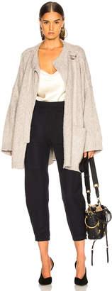 Chloé Brushed Bicolor Wool Cashmere Knit Coat