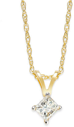 Macy's Princess-Cut Diamond Pendant Necklace in 10k Yellow or White Gold (1/4 ct. t.w.)