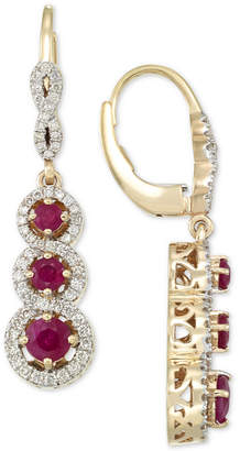 Rare Featuring Gemfields Certified Ruby (1-1/10 ct. t.w.) and Diamond (1/2 ct. t.w.) Triple Stone Infinity Drop Earrings in 14k Gold