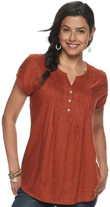 Sonoma Goods For Life Petite SONOMA Goods for Life Print Pintuck Top