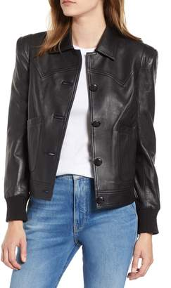 Chelsea28 Puff Shoulder Leather Jacket