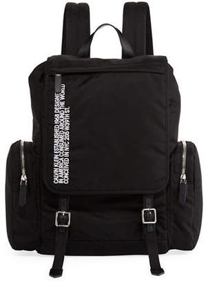 Calvin Klein Men's Logo Typographic Flap-Top Backpack
