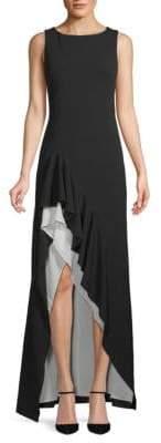 Calvin Klein Sleeveless Ruffled Gown