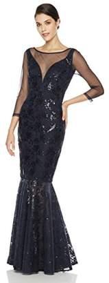 Social Graces Women's Deep V-Neck Illusion Mesh Sequin 3/4-Sleeve Evening Dress