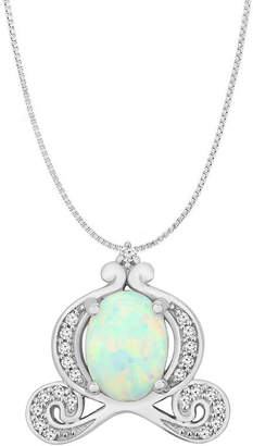 ENCHANTED FINE JEWELRY BY DISNEY Enchanted Disney Fine Jewelry 1/10 CT. T.W. Diamond and Lab-Created Opal Sterling Silver Pendant Necklace