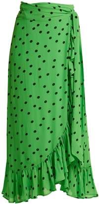 Ganni Dainty polka dot-print wrap-front skirt