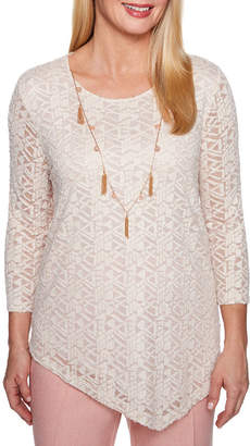 Alfred Dunner La Dolce Vita Asymmetrical Burnout Top-Womens