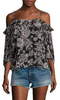 Ella Moss Ria Floral Cold-Shoulder Top