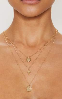 PrettyLittleThing Gold Renaissance Mini Coin Cross Layered Necklace