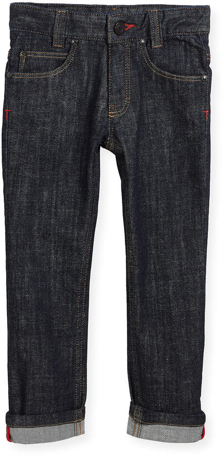 Denim Trousers w/ Leather Trim, Size 4-5
