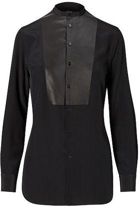 Polo Ralph Lauren Leather-Bib Silk Shirt $345 thestylecure.com