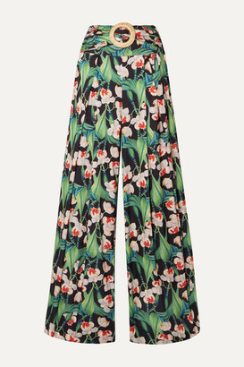 PatBO Belted Pleated Floral-print Satin Wide-leg Pants - Green