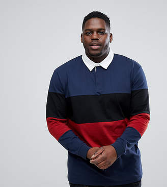 Asos DESIGN PLUS Longline Long Sleeve Rugby Polo Shirt With Color Block In Heavyweight Jersey
