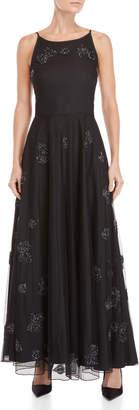 Blugirl Black Beaded Applique Gown