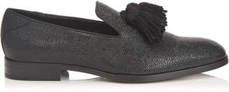 Jimmy Choo FOXLEY Black Caviar Print Patent Tasselled Slippers