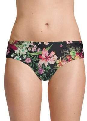 Floral Shirred Bikini Bottom