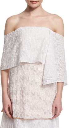 Prabal Gurung Off-The-Shoulder Fold-Over Tunic Blouse, Porcelain