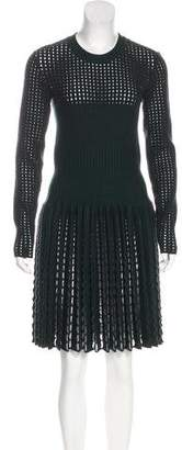 Alaia Wool Knit Fit & Flare Dress