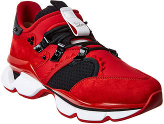 Christian Louboutin Red Runner Suede & Patent Sneaker